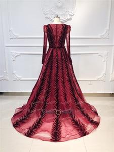 Image 3 - Robe de soirée en cristal bordeaux, manches longues, perles, fait à la main, robe de bal en velours, dubaï, modèle 2020