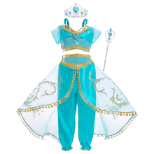 AmzBarley Jasmine Princess Costume Little Girls Arabian Two Pieces Halloween Cosplay clothes set Lace Gemstone outfits