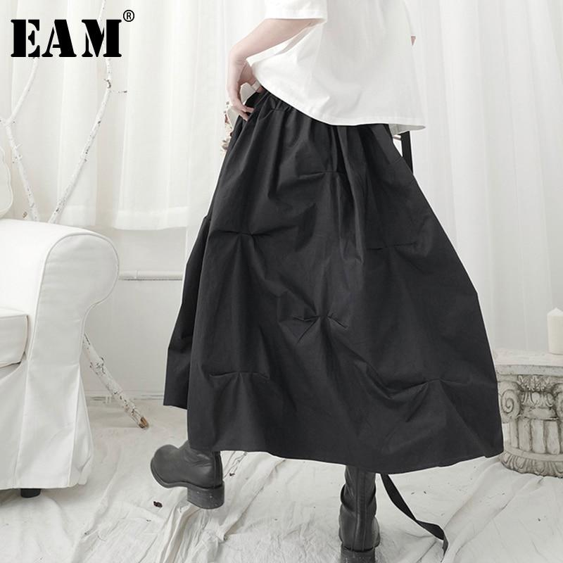 [EAM] High Elastic Waist Black Pleated Brief Temperament Half-body Skirt Women Fashion Tide New Spring Autumn 2020 1T123