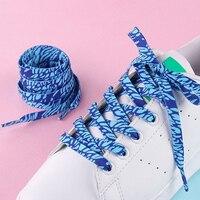 Cordones de zapatos para deportes estampados al aire libre para hombre y mujer, cordones planos con patrón de decoración, color degradado, blancos, Unisex