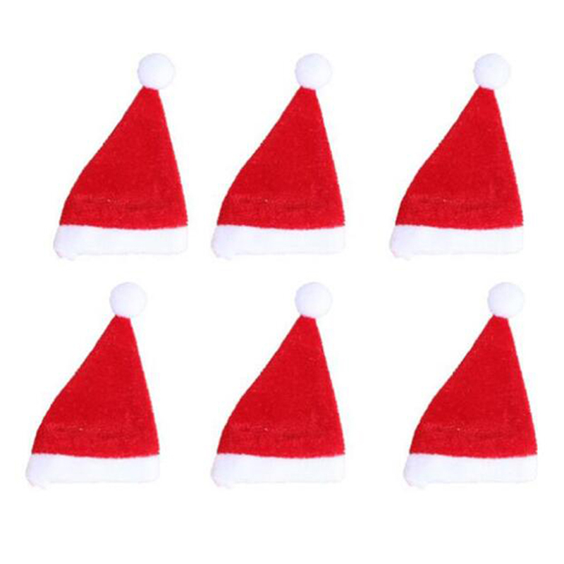 10pcs Mini Santa Hat Cup for Wine Bottles Cover Christmas Decor
