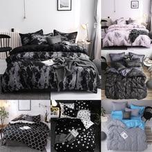 Простой постельное белье Стёганое одеяло наволочка из трех Комплект постельного белья с наволочка один двойной одеяло черный пододеяльник