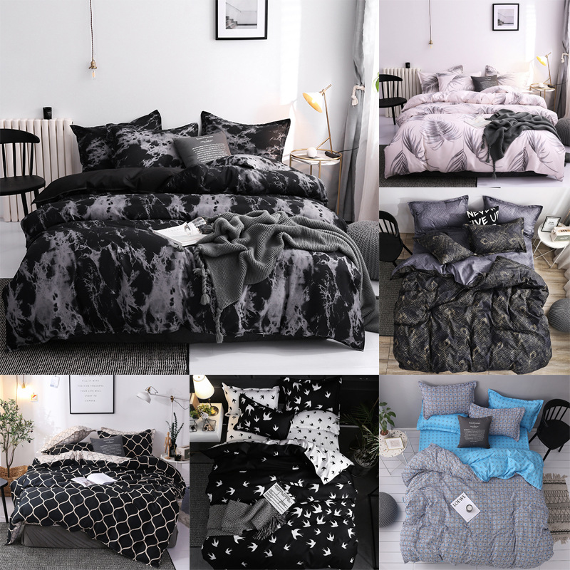 بسيط أغطية لحاف غطاء المخدة ثلاثة-قطعة طقم سرير مع كيس وسادة واحدة مزدوجة المعزي غطاء لحاف أسود