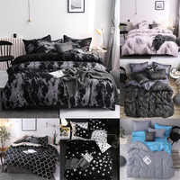 Simple Bedclothes Quilt Cover Pillowcase Three-Piece Bedding Set With Pillow Case Single Double Comforter Black Duvet Cover