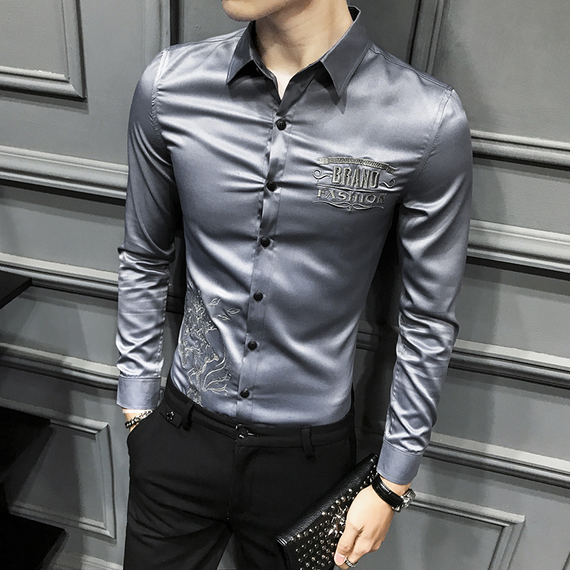 2020 Spring Men Shirt Long Sleeve Dress Shirt Embroidery Casual Slim Fit Streetwear Prom Party Social Tuxedo Shirt Work Clothing
