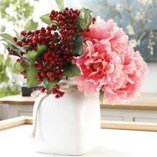 5PCS Pink Silk Peony Artificial Flowers Bouquet Big Head And Fake For Party Home Wedding Decoration Indoor 28cm