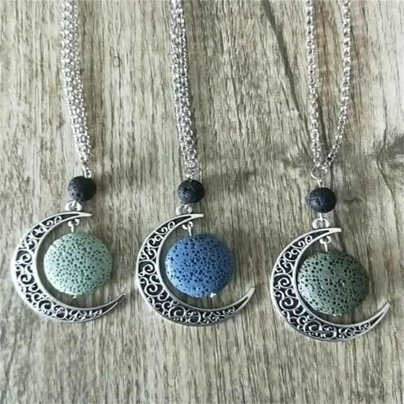 Kleurrijke Ronde Lava Steen Essentiële Olie Diffuser Ketting Aromatherapie Sieraden Minimalistische Lava Rock Stone Moon Ketting