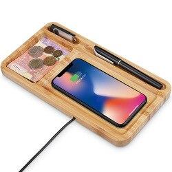 Kreatywny biura na biurko do przechowywania drewno bambusowe komórkowy bezprzewodowa ładowarka do telefonu Adapter do iphone 8 Xs 11 Pro Max Samsung S10 Xiaomi