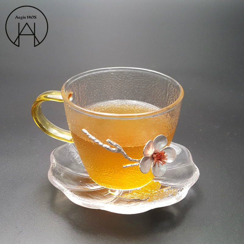 Three-dimensional Plum Glass Small Tea Cup Japanese Hammer Pattern Non-slip Heat-resistant Kung Fu Tea Set Cup Holder,Coaster