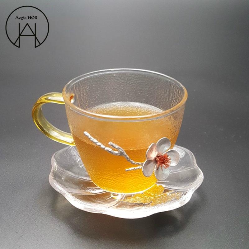 Three-dimensional Plum Glass Small Tea Cup Japanese Hammer Pattern Non-slip Heat-resistant Kung Fu Tea Set Cup Holder,Coaster