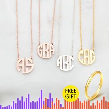 Monograma nombre collar mujeres personalizado Placa de nombre joyería de acero inoxidable personalizado regalo de la madre Collier Bijoux Mujer