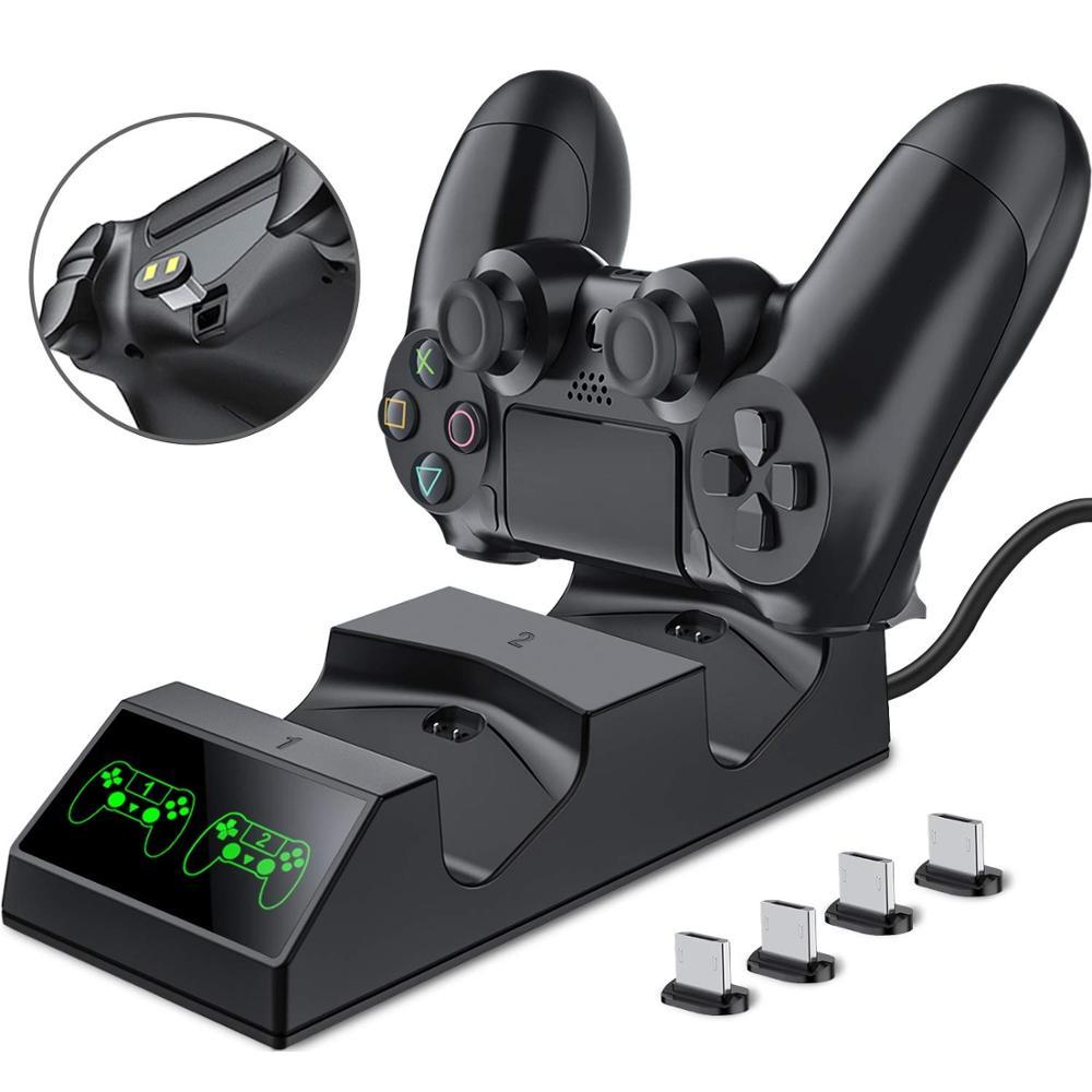 Зарядное устройство для контроллера PS4 Playstation 4, зарядная станция с 2 Micro USB разъемами для зарядки, двойная зарядная док-станция для Sony PS4 Slim Pro