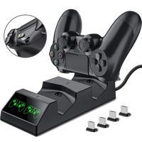 PS4 Controller Ladegerät Playstation 4 Ladegerät Station mit 2 Micro USB Lade Dongles Dual Lade Dock für Sony PS4 Dünne pro