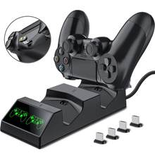 Carregador de controle para ps4 playstation 4, doca de carregamento com 2 micro usb e doca de carregamento duplo para sony ps4 slim pro pro pro