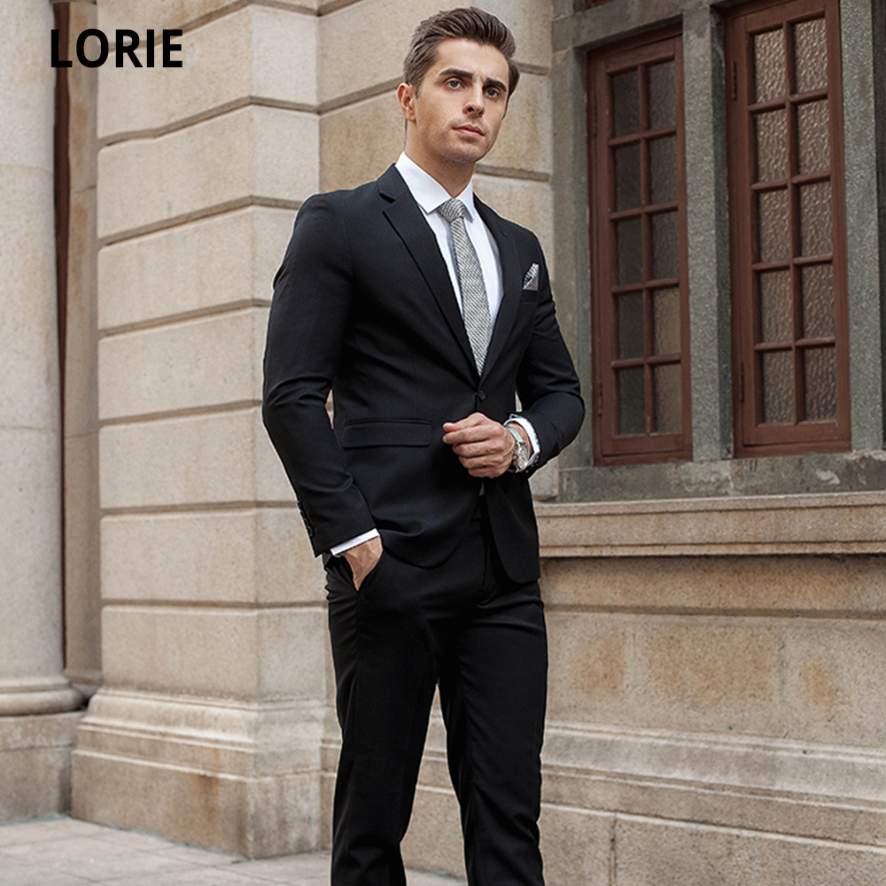 LORIE Bespoke 2 Pieces Slim Fit Business Classic Formal Black Suit For Men 2020 Bridegroom Best Man Wedding Suit Plus Size