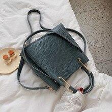 여성을위한 스톤 패턴 PU 가죽 버킷 가방 2021 작은 어깨 간단한 가방 레이디 패션 핸드백 럭셔리 토트