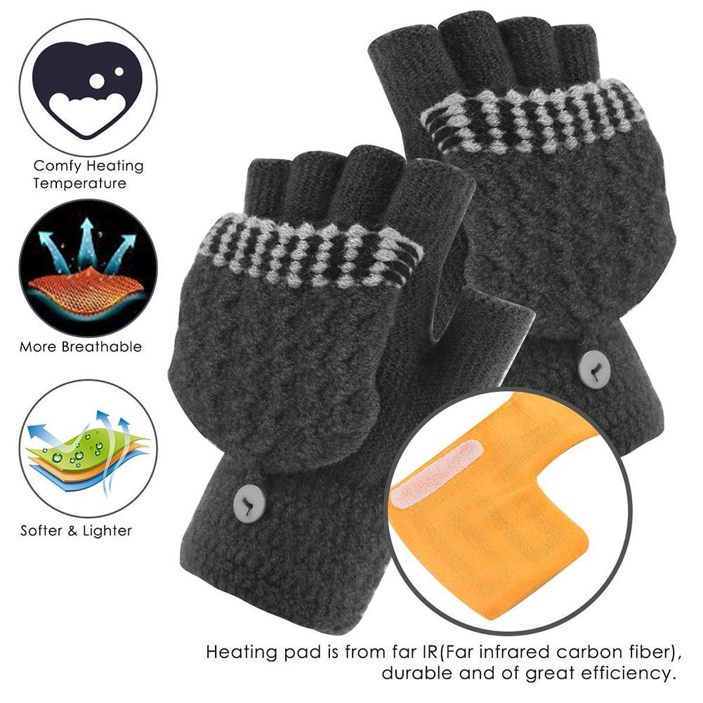 Men Women USB Heated Gloves Winter Hand Warm Thermal Heating Half Finger Mittens