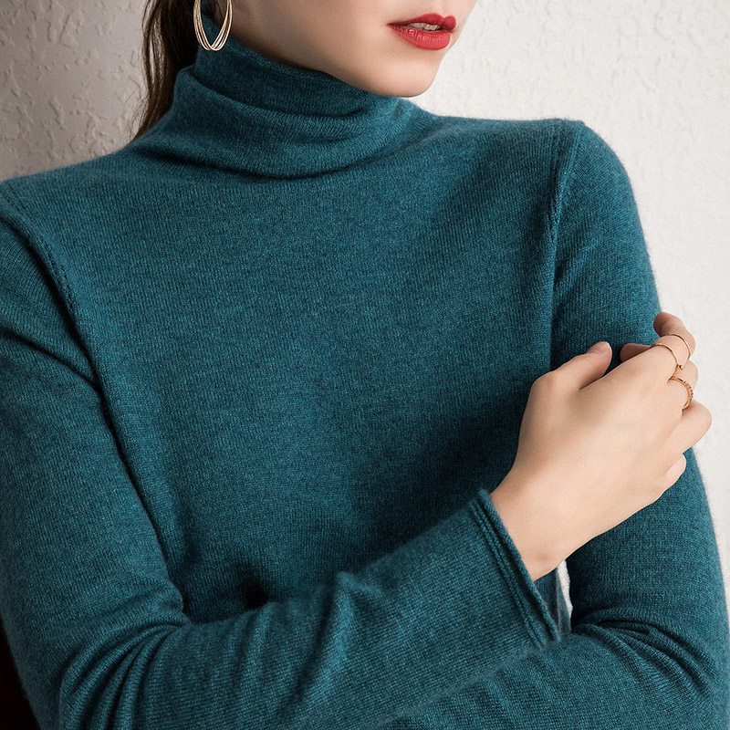 100% Pure Cashmere Knit Jumpers For Women 2019 New Turtleneck Sweaters And Pullovers Ladies 10Colors Standard Clothes