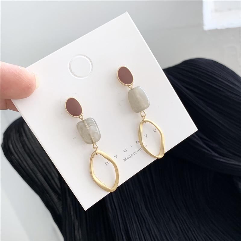 Simple Irregular Square Acrylic Inlaid Hollow Metal Hoop Drop Earrings Korean Cute Pendent Earrings for Women Girls Ear Jewelry