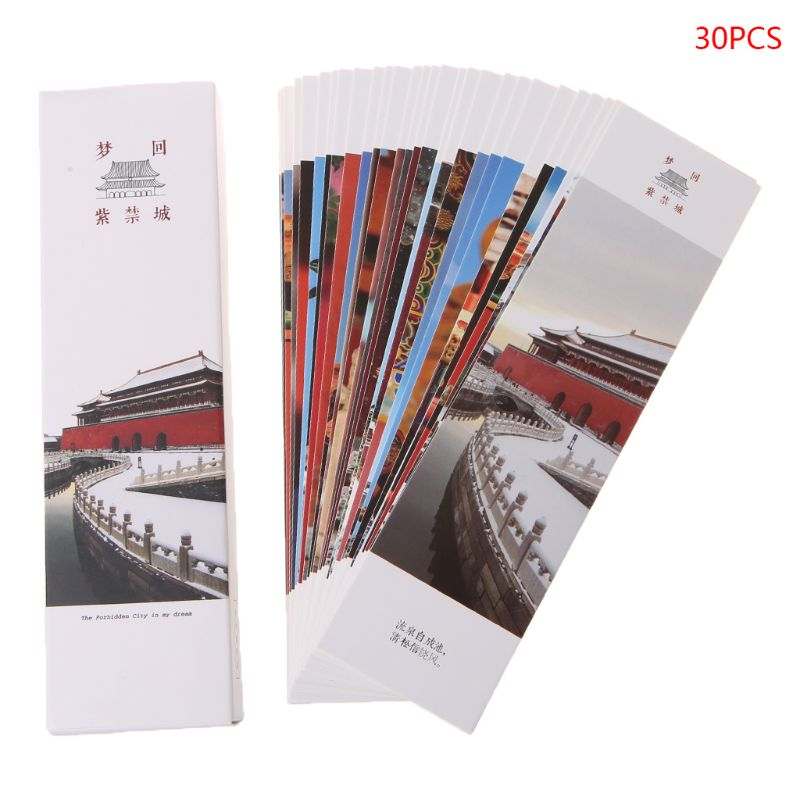 30pcs Chinese Style Paper Bookmarks Dream Back To The Forbidden City Retro Beautiful Boxed Bookmark Commemorative Gifts