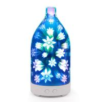 017 3D colorful flowers glass night light aromatherapy machine humidifier ultrasonic essential oil atomizer USB interface|Humidifiers| |  -