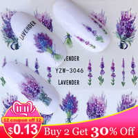 Nail Stickers on Nails Blooming Flower Stickers for Nails Lavender Nail Art Water Transfer Stickers Decals