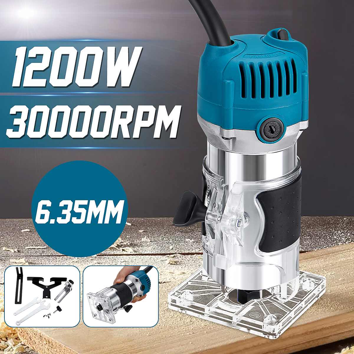 750W/1200W Wood Electric Trimmer Laminator Router Joiners Tool Woodworking Electric Hand Trimmer Wood Laminator With Router Bits