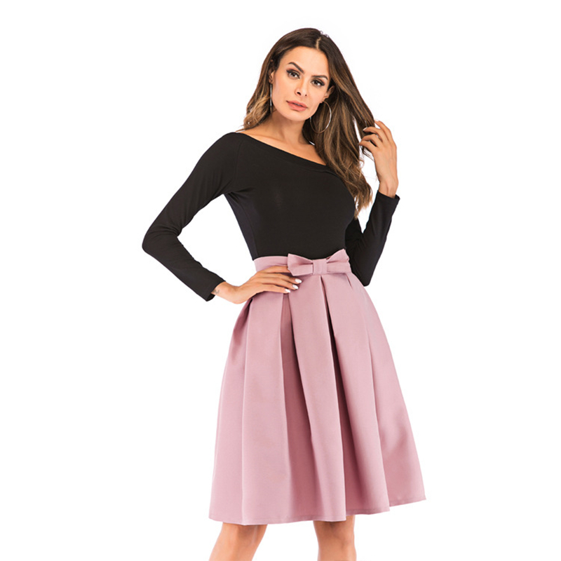 Neophi 2019 Causual Bow Pleated Women Skater Skirts Knee Length Winter High Waist Ladies Solid Black Ball Gown Saia S-XXL S8423