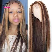 Прозрачный 13x6 парик шнурка Мёд светлые волосы тело волна человеческих