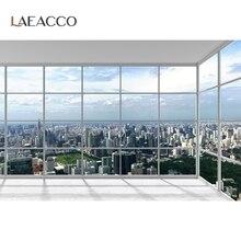 Laeacco עיר נוף בית צרפתית חלון רצפת שמש תינוק דיוקן צילום רקע צילום רקע תמונה סטודיו