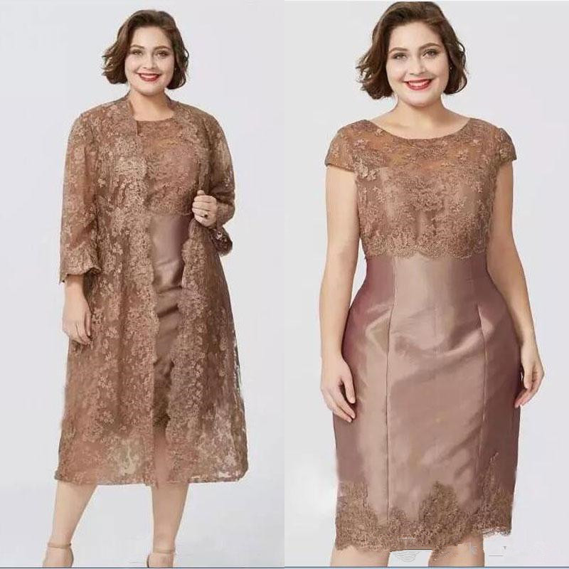 2019 Sheath Mother of the Bride Dresses Knee Length with Lace Jacket Short Women Evening Gowns Mom's Formal Dress Plus Size