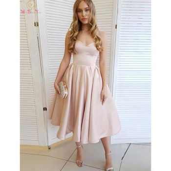 Light Pink A-Line Cocktail Dresses 2020 Formal Party Sweetheart Neck Short Prom Gowns Satin Graduation Women Homecoming Gowns 2020 light sky blue lace graduation short prom dresses bateau neck satin ruched mini homecoming party cocktail dress for girls