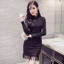 Китайское платье для женщин элегантное платье Чонсам с длинным рукавом женское сексуальное хлопковое платье Ципао вечерние платья vestidos
