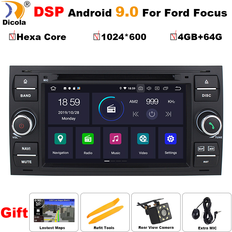 PX6 DSP Hexa Core Car Multimedia Player Android 9 <font><b>GPS</b></font> Autoradio For <font><b>Ford</b></font>/Mondeo/<font><b>Focus</b></font>/Transit/C-MAX/S-MAX/Fiesta 64GB ROM DVD image