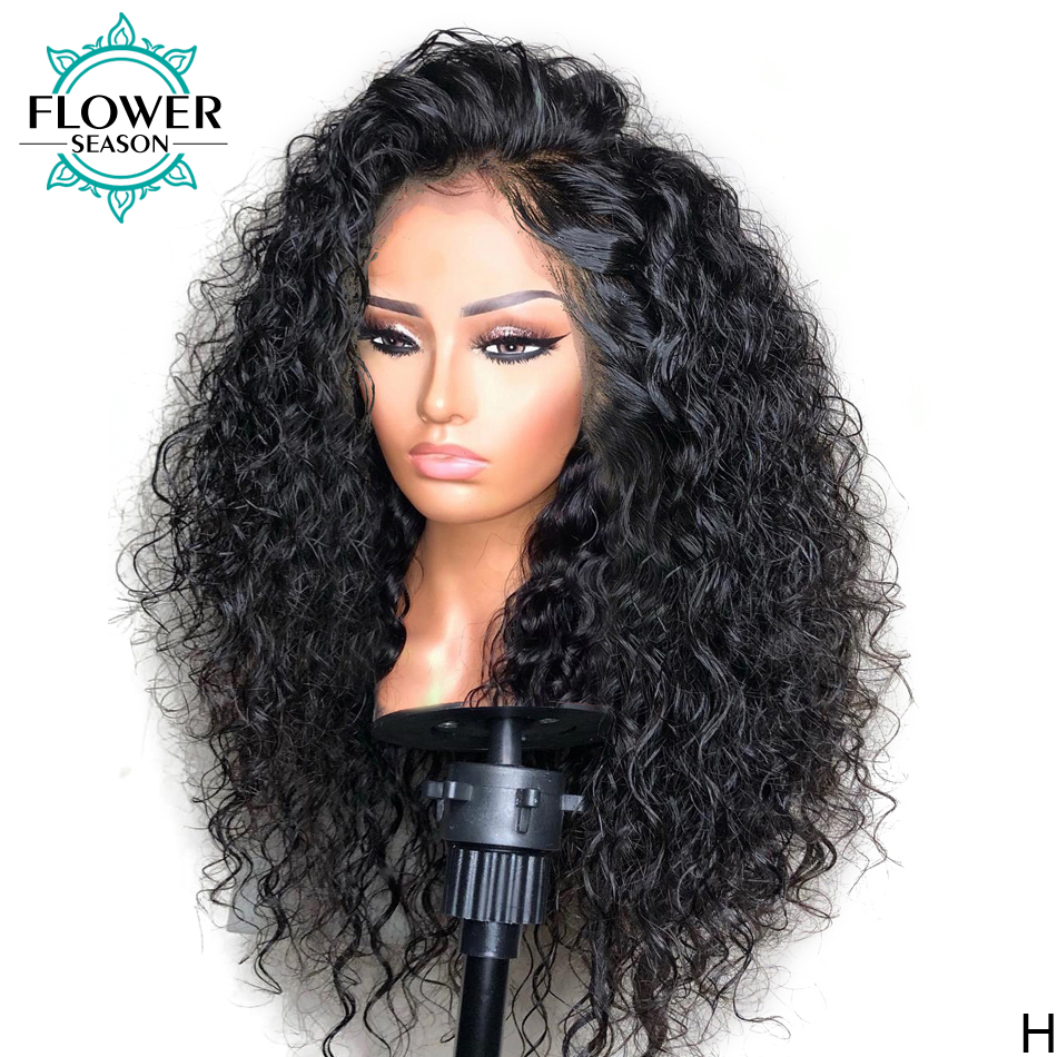Curly Lace Front Wigs  With Baby Hair 13x4 Lace Frontal   150% Preplucked Bleached Knots Flowerseason 1