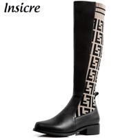 Insicre Women Knee High Boots Cow Leather Low Heels 3.5 cm Patchwork Spring Female Winter Shoes Round Toe Brown Knitting