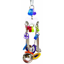 Bird Cage Pet Supplies Cockatoo Bell Cockatiel Swing Interactive Chewing Stainless Steel Mini Parrot Toy Hanging Random Color(China)