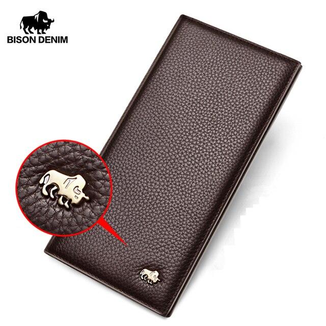 BISON DENIM Cowskinยาวผู้ชายกระเป๋าสตางค์ชายหนังแท้กระเป๋าสตางค์ผู้ถือบัตรเหรียญกระเป๋าn4470 & N4391