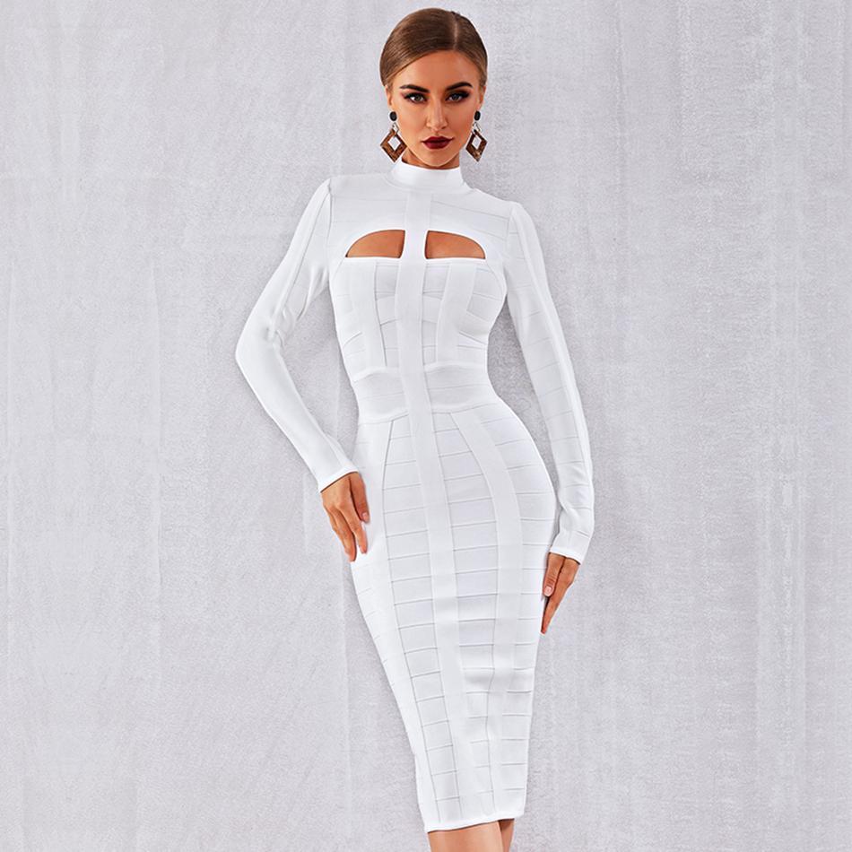 Hiver automne femmes élégant célébrité fête moulante robe de pansement blanc à manches longues col rond évider Sexy discothèque Vestidos