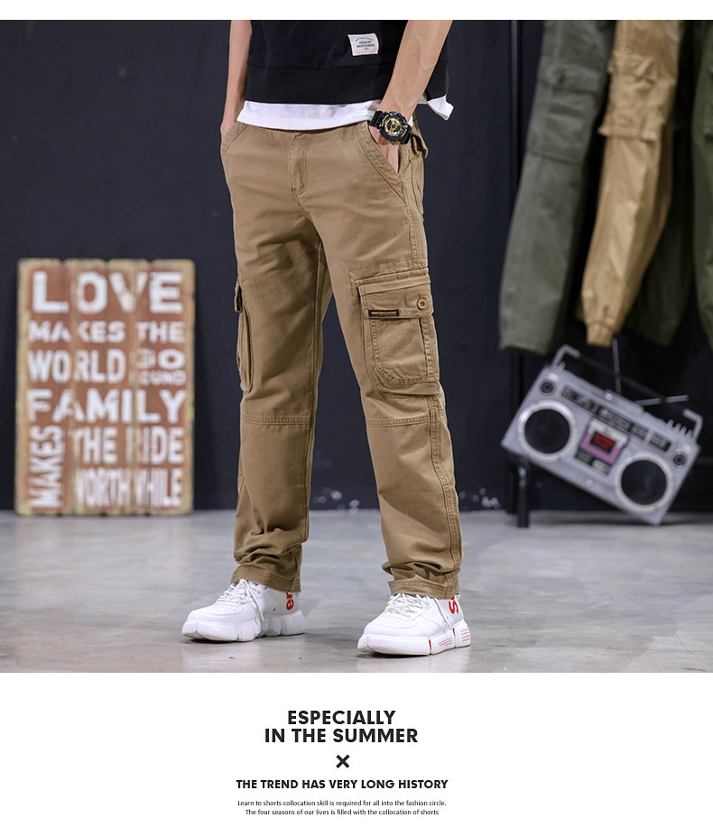 KSTUN 2020 Mens Military Cargo Pants Multi-pockets Baggy Men Cotton Pants Casual Overalls Army Oustdoor Tactical Trousers High Quality 15