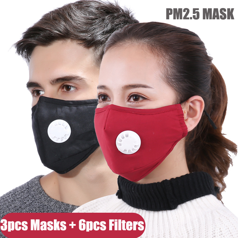 Cotton PM2.5 Black Mouth Mask Anti Haze Anti-dust Mask Activated Carbon Filter Respirator Proof Face Masks Washable Reusable