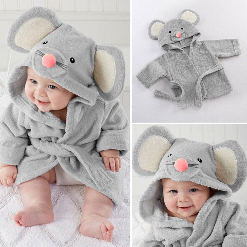 Cute Toddler Kids Girl Boy Bath Robe Sleepwear Soft Cartoon Pajamas Nightwear