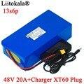 LiitoKala 48V 20ah 13s6p Lithium-Akku 48V 20AH 2000W elektrische fahrrad batterie Gebaut in 50A BMS XT60 stecker + 54,6 V Ladegerät