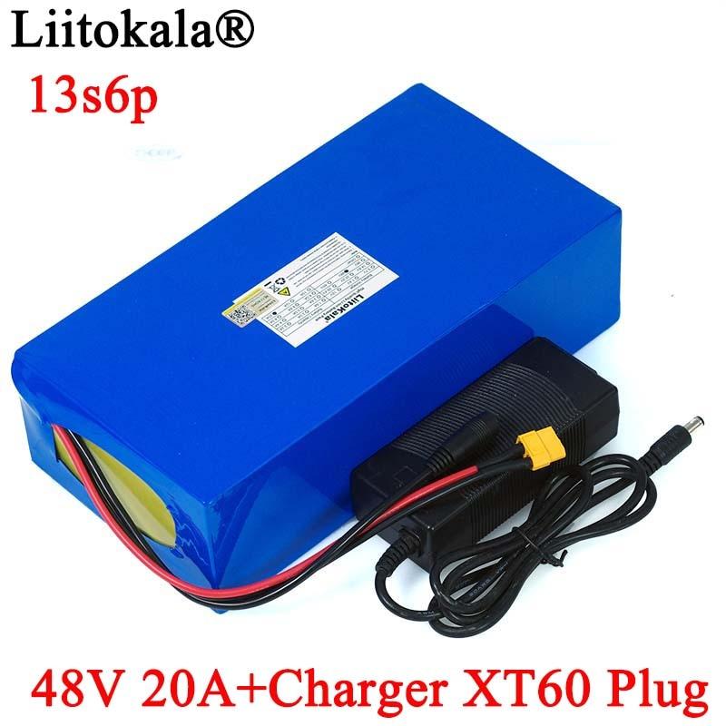 LiitoKala 48V 20ah 13s6p lityum pil paketi 48V 20AH 2000W elektrikli bisiklet pil dahili 50A BMS XT60 fiş + 54.6V şarj cihazı