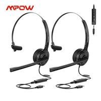 Mpow-Paquete de 2 auriculares USB con micrófono para PC, cascos de negocios con cancelación de ruido, silenciador para centro de llamadas, 3,5mm