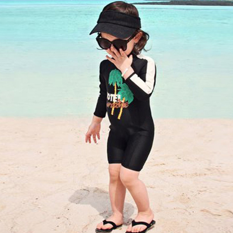 KID'S Swimwear Foreign Trade Export Medium-small Girls GIRL'S One-piece Boxer Long Sleeve Sun-resistant Warm Korean-style New St