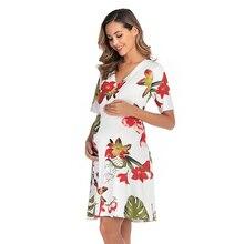 2019 Hot Sale Summer  Maternity Dress Fashion Short Sleeve V-Neck Pregnancy High Quality Print Casual Pregnant