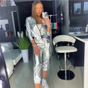 Streetwear Bodycon Sexy Silver Jumpsuit for Women 2019 Autumn Winter Zipper Long Sleeve Romper Womens Female Overalls