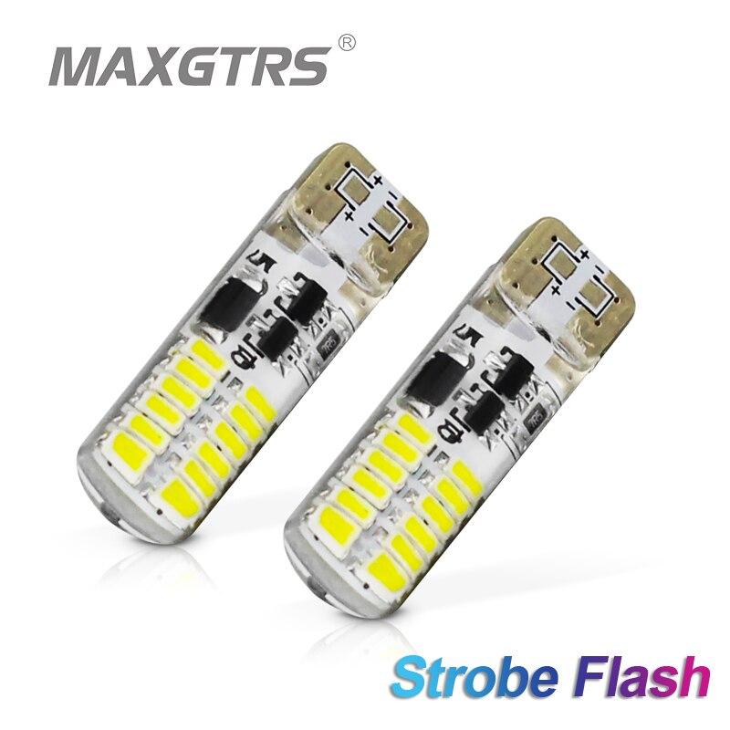 2x t10 estroboscópio piscando 194 w5w 24 smd 3014 led t10 led brilho duradouro + flash estroboscópio automático dois modos de operação lâmpadas de carro