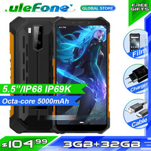 Smartphone ulefone armor x5 ip68 robusto, celular à prova d' água mt6762, núcleo octa core, android 10.0, 3gb + 32gb, nfc 4g lte celular